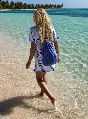 Sea me happy tiedye t-shirt dress and festival bag
