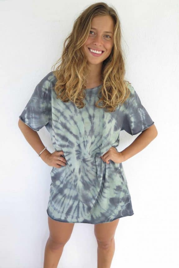 Sea Me Happy tie-dye t-shirt dress xl green