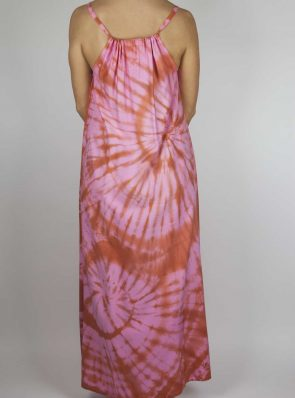 Moon dress tie-dye 7 sea me happy red pink maxi dress back