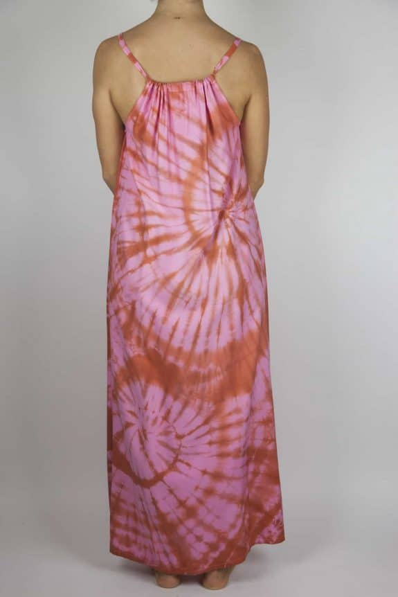 Moon dress tie-dye 7 sea me happy red pink maxi dress back