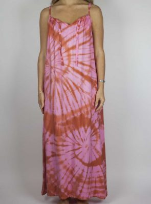 Moon dress tie-dye 7 sea me happy red pink maxi dress front