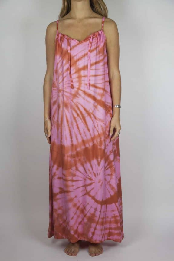 Moon dress tie-dye 7 sea me happy red pink maxi dress front