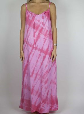 Moon dress tie-dye 8 sea me happy pink maxi dress front