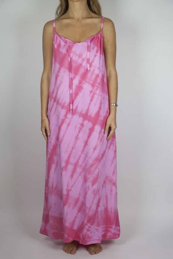 Moon dress tie-dye 8 sea me happy pink maxi dress front