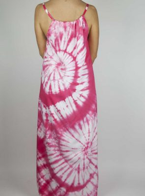 Moon dress tie-dye 9 sea me happy pink maxi dress back