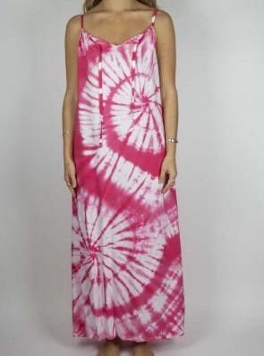 Moon dress tie-dye 9 sea me happy pink maxi dress front