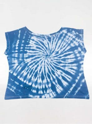 Off shoulder T-shirt tie-dye blue, Sea Me Happy