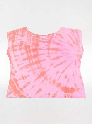Off shoulder T-shirt tie-dye pink/orange, Sea Me Happy
