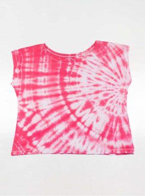 Off shoulder T-shirt tie-dye pink/red, Sea Me Happy