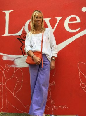 SeaMeHappy gypsy pants purple at love sign Paris