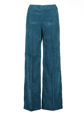 Sea Me Happy wide rib gypsy pants lagoon blue. Made in Belgium.