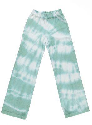 Sea Me Happy soft velours Aloha pants lagoon blue. Hand dyed in Belgium.