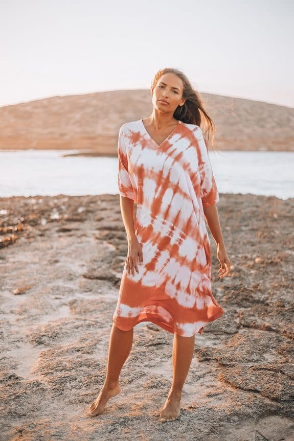 Sea Me Happy Ocean Breeze tie-dye dress terracotta
