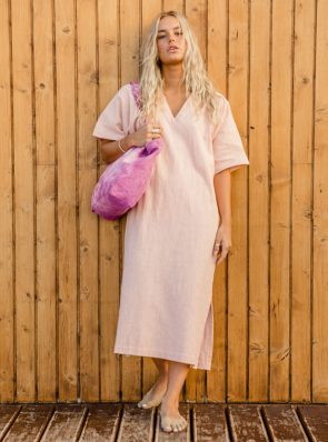 Sea Me Happy Tipi Dress, nude, 100% linen, made in Belgium