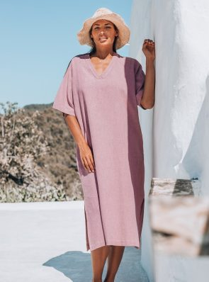 Sea Me Happy Tipi Dress old rose, 100% linen