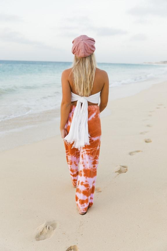 Sea Me Happy tie dye Aloha pants terracotta-rose, handmade in Belgium