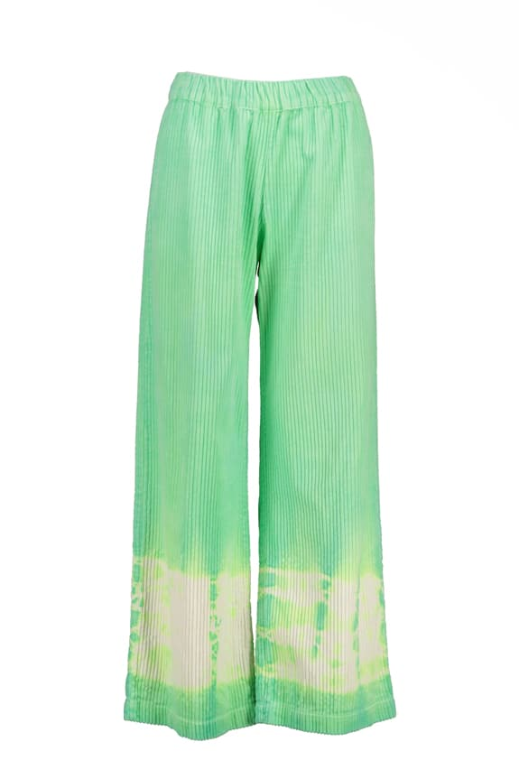 Sea Me Happy wide rib gypsy pants fluo green. Hand dyed in Belgium.