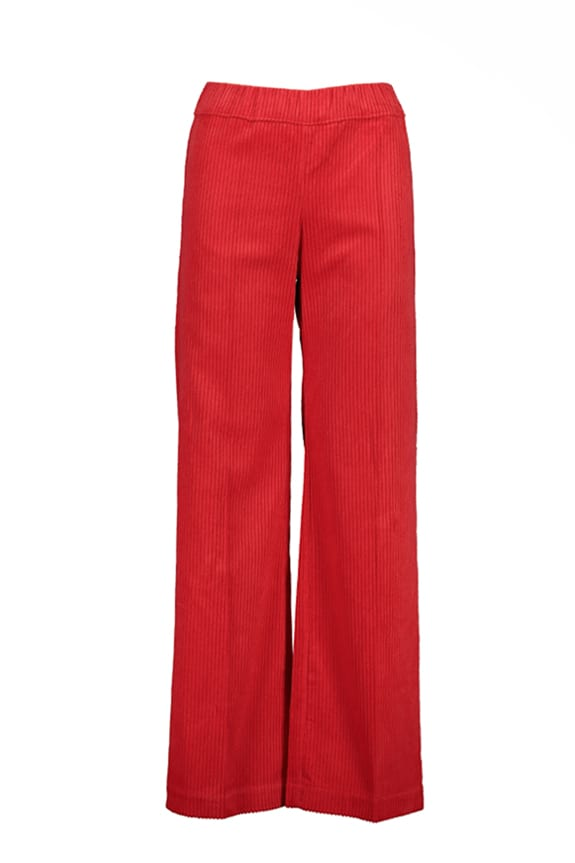 Sea Me Happy wide rib gypsy pants red. Made in Belgium