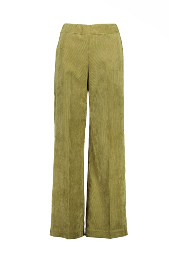 Sea Me Happy wide rib coton gypsy pants olive green. Made in Belgium.