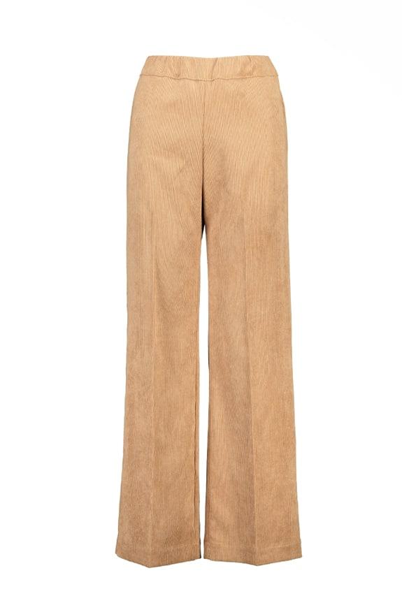 Sea Me Happy wide rib gypsy pants camel. Made in Belgium