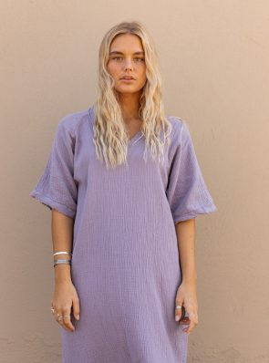 Sea Me Happy Fiji dress lavender, 100% cotton, with raffles, made in Belgium