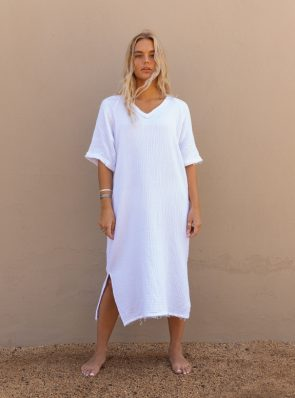 Sea Me Happy Fiji dress white, 100% cotton, made in Belgium
