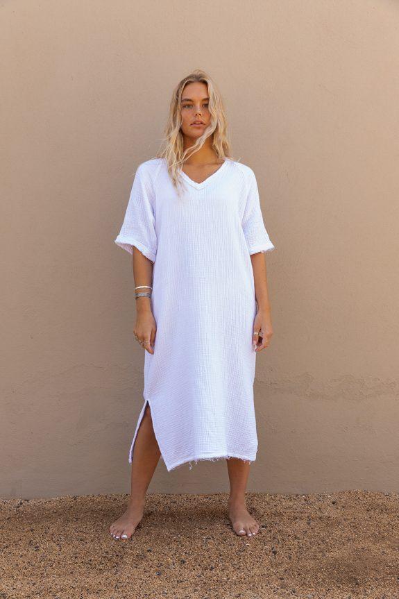 Sea Me Happy Fiji dress white, 100% cotton, made in Belgium