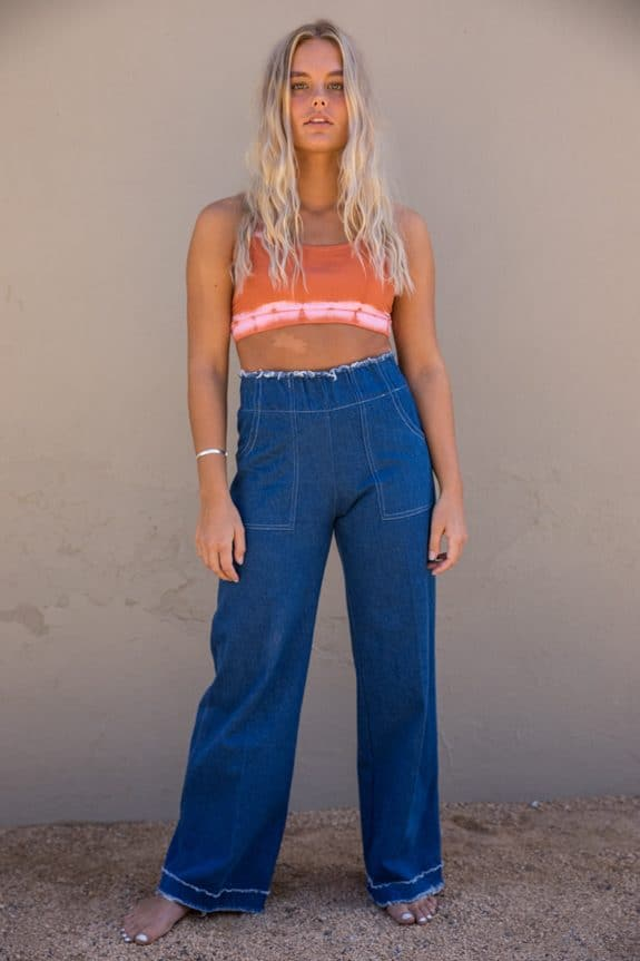 Sea Me Happy Gypsy Jeans Pocket Pants with Raffles and high waist