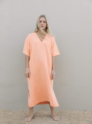 Sea Me Happy Tipi dress orange, 100% linen, made in Belgium