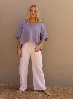 Sea Me Happy Fiji pants baby pink and Fiji top lavender