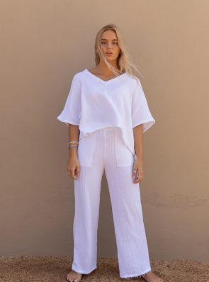 Sea Me Happy Fiji Top with raffles and Fiji Pants in white. 100% cotton.