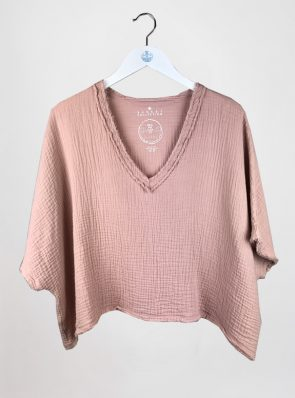 Sea Me Happy Fiji Top with raffles in old rose. 100% cotton. Made in Belgium.