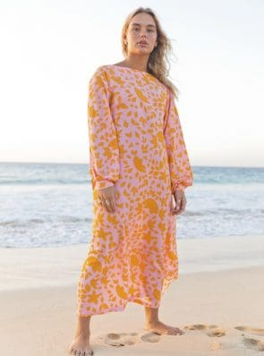 Sea Me Happy Noosa Dress Flowers orange/pink
