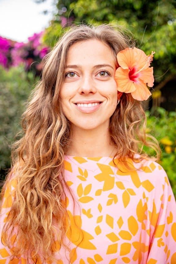 Sea Me Happy Noosa Dress Flowers orange/pink, detail