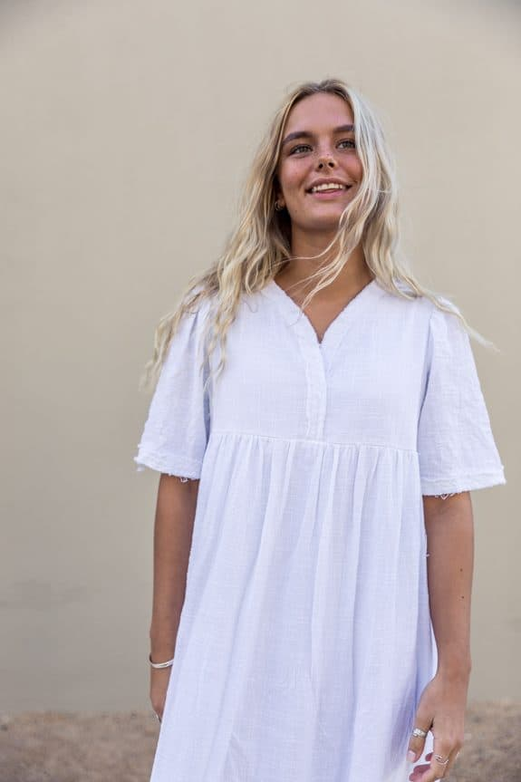 Detail Sea Me Happy Byron Dress white, made in Belgium, 100% cotton