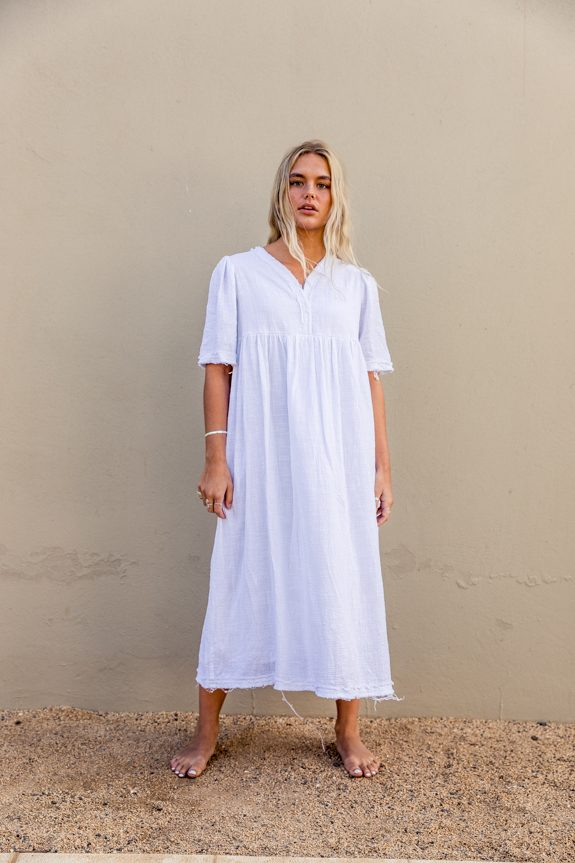 Sea Me Happy Byron Dress white, made in Belgium, 100% cotton
