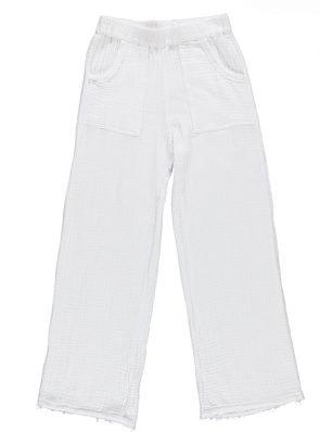 Sea Me Happy Fiji Pants white, with raffles and pockets.