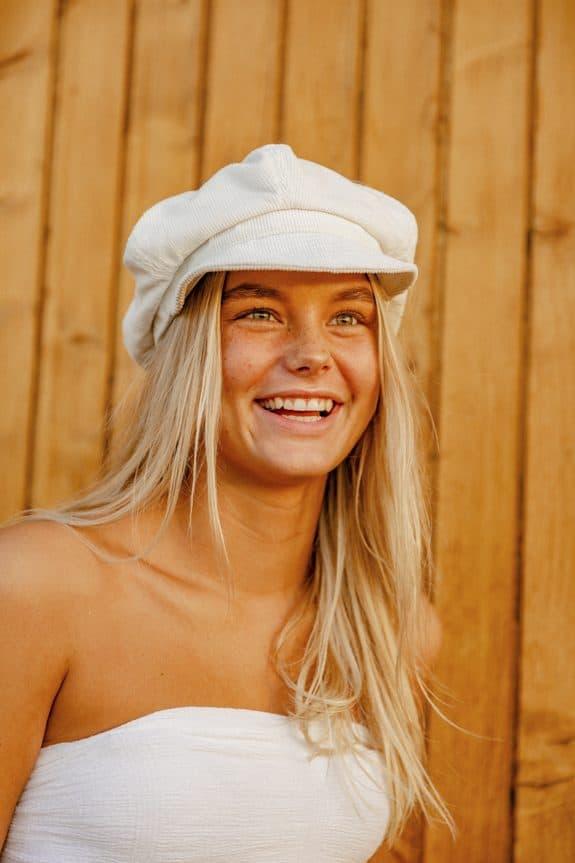 Sea Me Happy Baker Boy hat, white, 100% cotton, thin corduroy