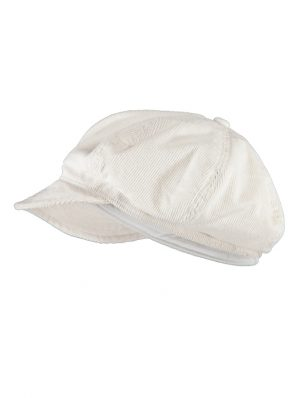 Sea Me Happy Baker Boy hat, white, 100% cotton, thin corduroy