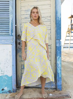 Noosa wrap skirt and noosa top yellow/purple