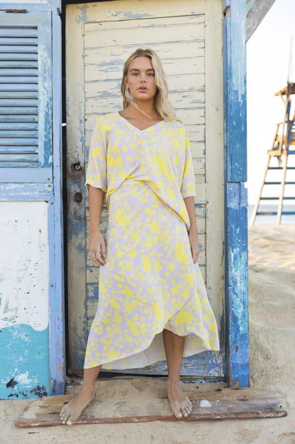 Noosa wrap skirt and noosa top yellow/purple