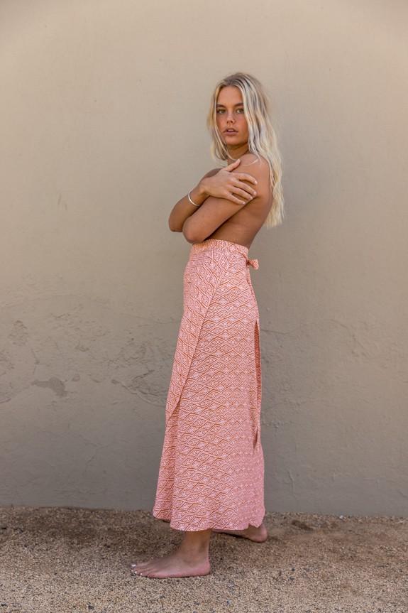 Sea Me Happy Noosa wrap skirt ethnic, close-up