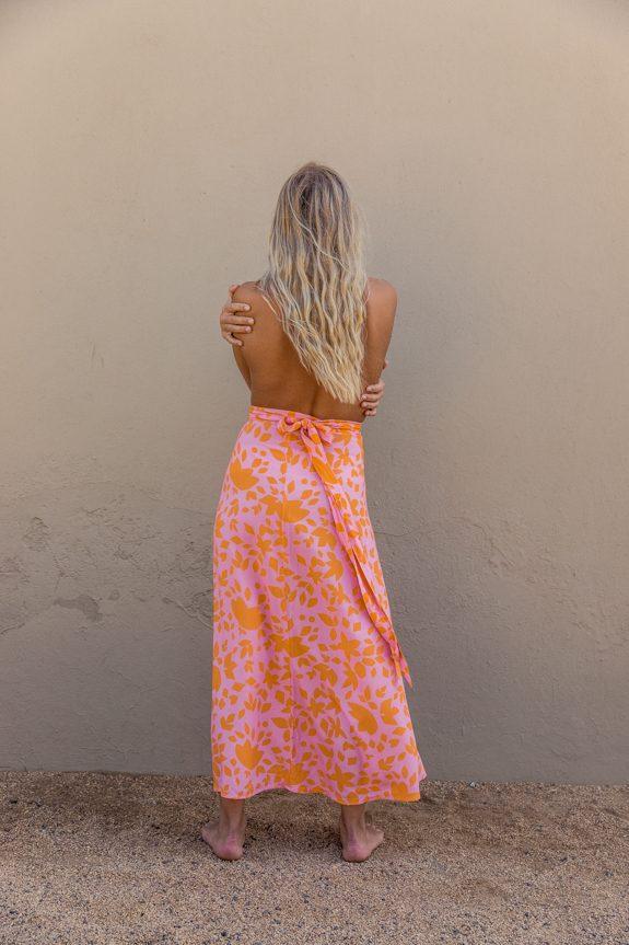 Sea Me Happy Noosa wrap skirt orange-pink, back