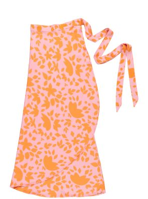 Sea Me Happy Noosa wrap skirt orange-pink