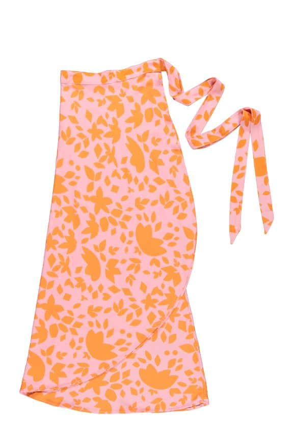 Sea Me Happy Noosa wrap skirt orange-pink