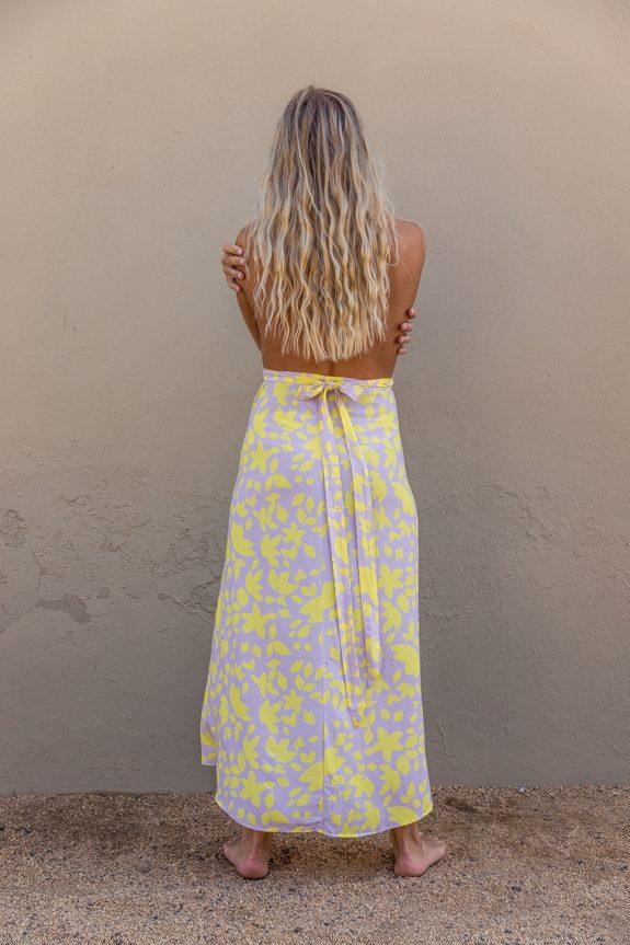 Sea Me Happy Noosa wrap skirt yellow-purple, back
