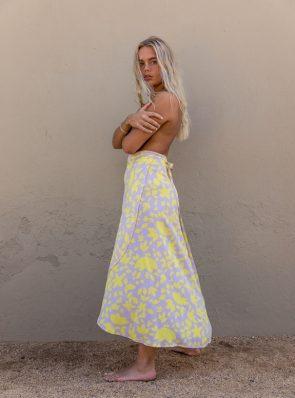 Sea Me Happy Noosa wrap skirt yellow-purple, close-up