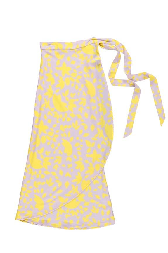 Sea Me Happy Noosa wrap skirt yellow-purple