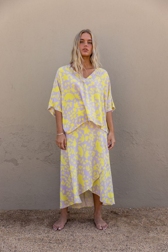 Sea Me Happy Noosa wrap skirt and Noosa Top yellow-purple