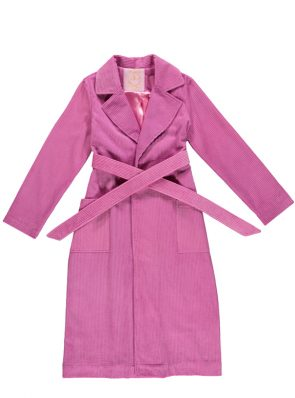 Corduroy long coat fuchsia by Sea Me Happy